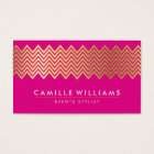 MODERN CHEVRON pattern gold foil bright hot pink Business Card