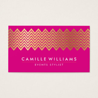 MODERN CHEVRON pattern gold foil bright hot pink Business Card