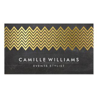 MODERN CHEVRON pattern gold foil chalkboard gray Business Card Templates