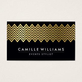MODERN CHEVRON pattern gold foil geo black Business Card