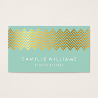 MODERN CHEVRON pattern gold foil trendy mint green Business Card