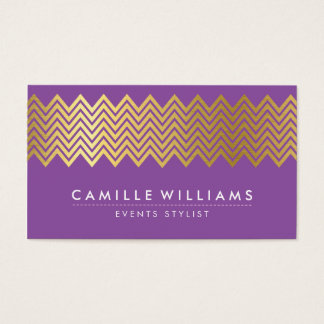 MODERN CHEVRON pattern gold foil trendy purple Business Card