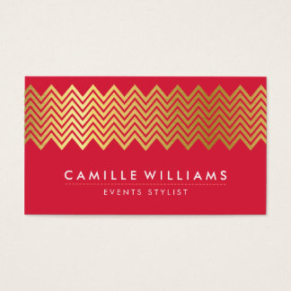 MODERN CHEVRON pattern gold foil trendy rich red Business Card