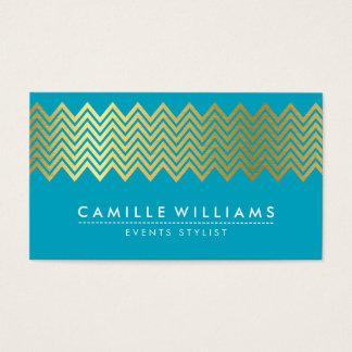 MODERN CHEVRON pattern gold foil turquoise blue Business Card