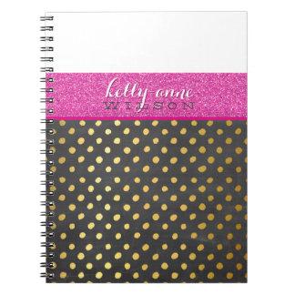 MODERN CHEVRON PATTERN gold glitter pink gray Note Book
