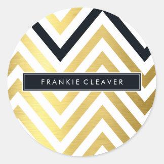 MODERN CHEVRON PATTERN trendy gold foil black Classic Round Sticker