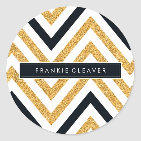 MODERN CHEVRON PATTERN trendy gold glitter black Classic Round Sticker