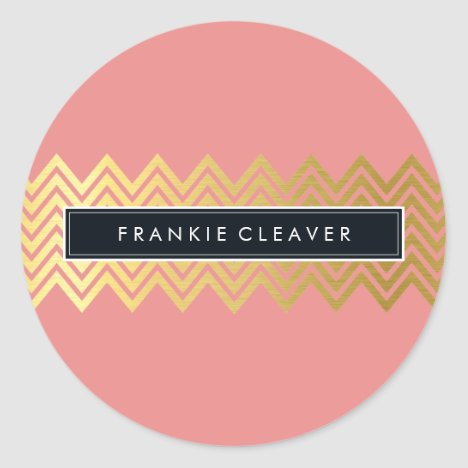 MODERN CHEVRON PATTERN trendy gold simple coral Classic Round Sticker