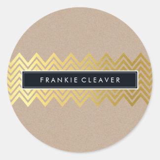MODERN CHEVRON PATTERN trendy gold simple kraft Classic Round Sticker
