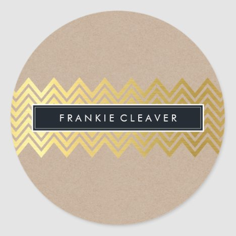 MODERN CHEVRON PATTERN trendy gold simple kraft Classic Round Sticker