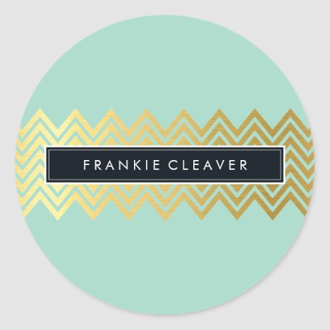 MODERN CHEVRON PATTERN trendy gold simple mint Classic Round Sticker