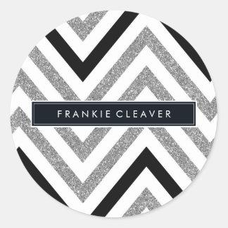 MODERN CHEVRON PATTERN trendy silver glitter black Stickers