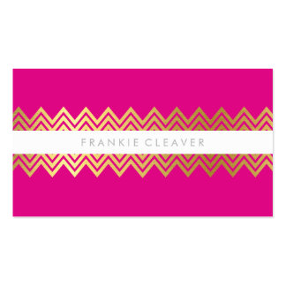 MODERN CHEVRON PATTERN trendy simple gold hot pink Business Cards