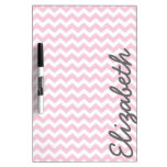 Modern Chevron Pattern with Name - Pink Dry-Erase Whiteboard
