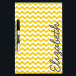 """Modern Chevron Pattern with Name - Yellow Dry Erase Board<br><div class=""""desc"""">Golden yellow and Gray -- A trendy,  girly design with cute print and bright colors. A great back to school item for your dorm room door.</div>"""