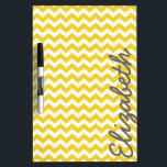"Modern Chevron Pattern with Name - Yellow Dry Erase Board<br><div class=""desc"">Golden yellow and Gray -- A trendy,  girly design with cute print and bright colors. A great back to school item for your dorm room door.</div>"