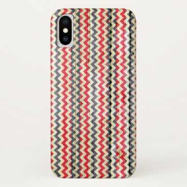 Aztec Themed Modern Chevron Pattern Wooden iPhone X Case