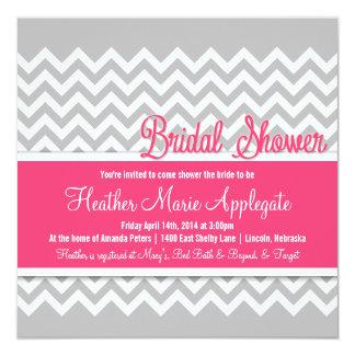 Modern Chevron Pink Gray Bridal Shower Invitation