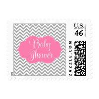 Modern Chevron Pink Gray Girl Baby Shower Stamps