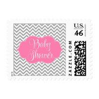 Modern Chevron Pink Gray Girl Baby Shower Stamps