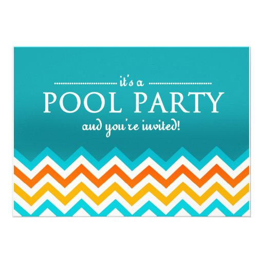 Modern Chevron Pool Party Invitations