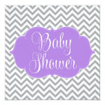 Modern Chevron Purple Gray Girl Baby Shower Personalized Invitations
