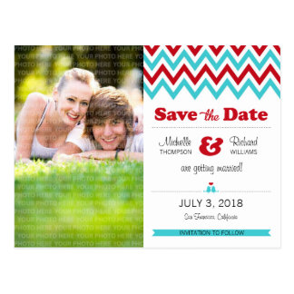 Modern Chevron (Red Aqua) Save the Date Photo Postcards
