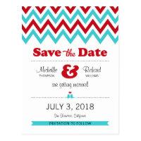 Modern Chevron (Red & Aqua) Save the Date Postcard