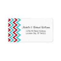 Modern Chevron (Red & Aqua) Wedding Address Labels