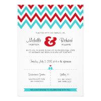 Modern Chevron (Red & Aqua) Wedding Custom Invitations