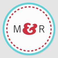 Modern Chevron (Red & Aqua) Wedding Monogram Stickers