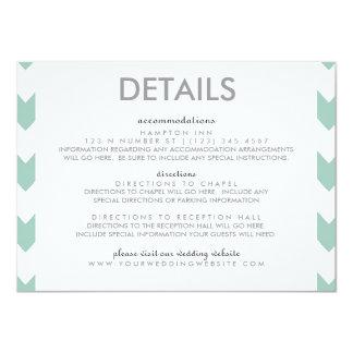 """Modern Chevron Square Informal Couple Invite Detai 4.5"""" X 6.25"""" Invitation Card"""
