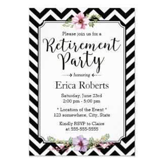 Modern Chevron Stripes Floral Retirement Party Card