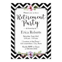 Modern Chevron Stripes Floral Retirement Party Invitation