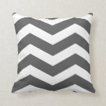 Modern Chevron Stripes in Charcoal Grey and White Throw Pillows