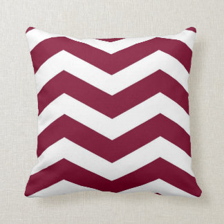Modern Chevron Stripes in Cranberry Red and White Pillows