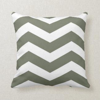 Modern Chevron Stripes in Olive Green and White Throw Pillow