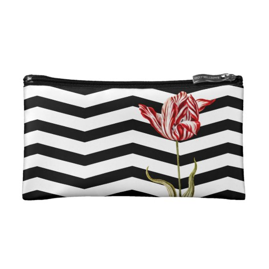 Modern Chevron Stripes Tulip Botanical Cosmetic Bag