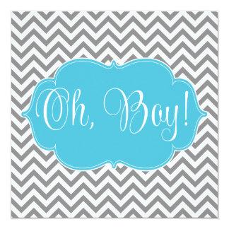 Modern Chevron Teal Blue Gray Boy Baby Shower Announcements