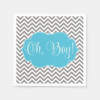 Modern Chevron Teal Blue Gray Boy Baby Shower Disposable Napkin