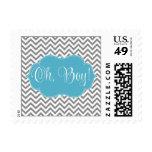 Modern Chevron Teal Blue Gray Boy Baby Shower Stamp