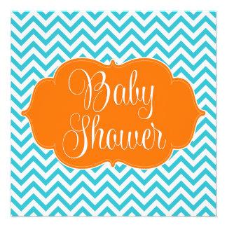 Modern Chevron Teal Orange Baby Shower Invitation
