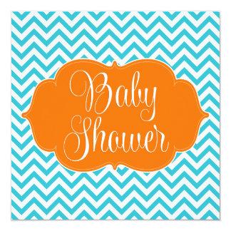"Modern Chevron Teal Orange Baby Shower Invitation 5.25"" Square Invitation Card"
