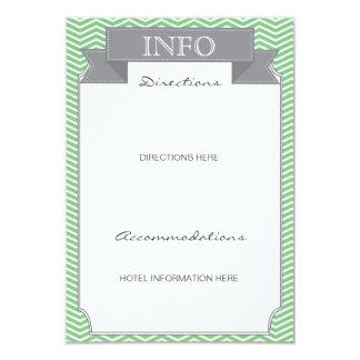 Modern Chevron Wedding Information Card Mint