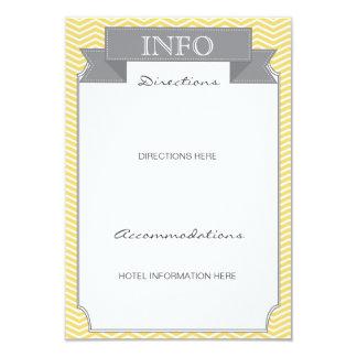 Modern Chevron Wedding Information Card Yellow