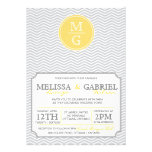 Modern Chevron Wedding Invitation Yellow