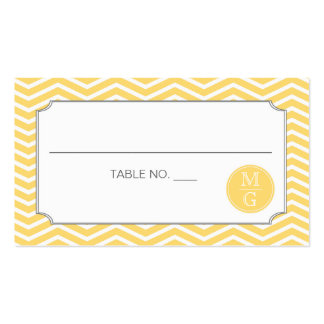 Modern Chevron Wedding Placecard Yellow Double-Sided Standard Business Cards (Pack Of 100)