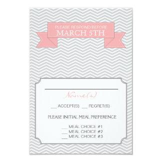 Modern Chevron Wedding Reply Card Pink