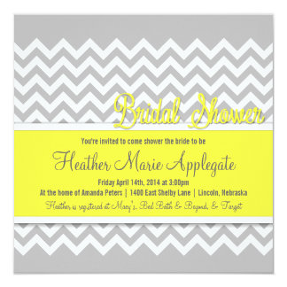 Modern Chevron Yellow Bridal Shower Invitation