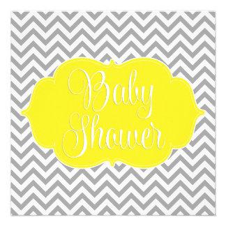 Modern Chevron Yellow Gray Baby Shower Personalized Invitations